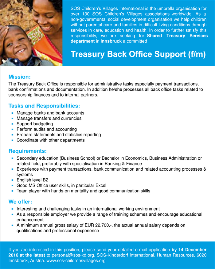 Treasury Back Office Support (f/m)