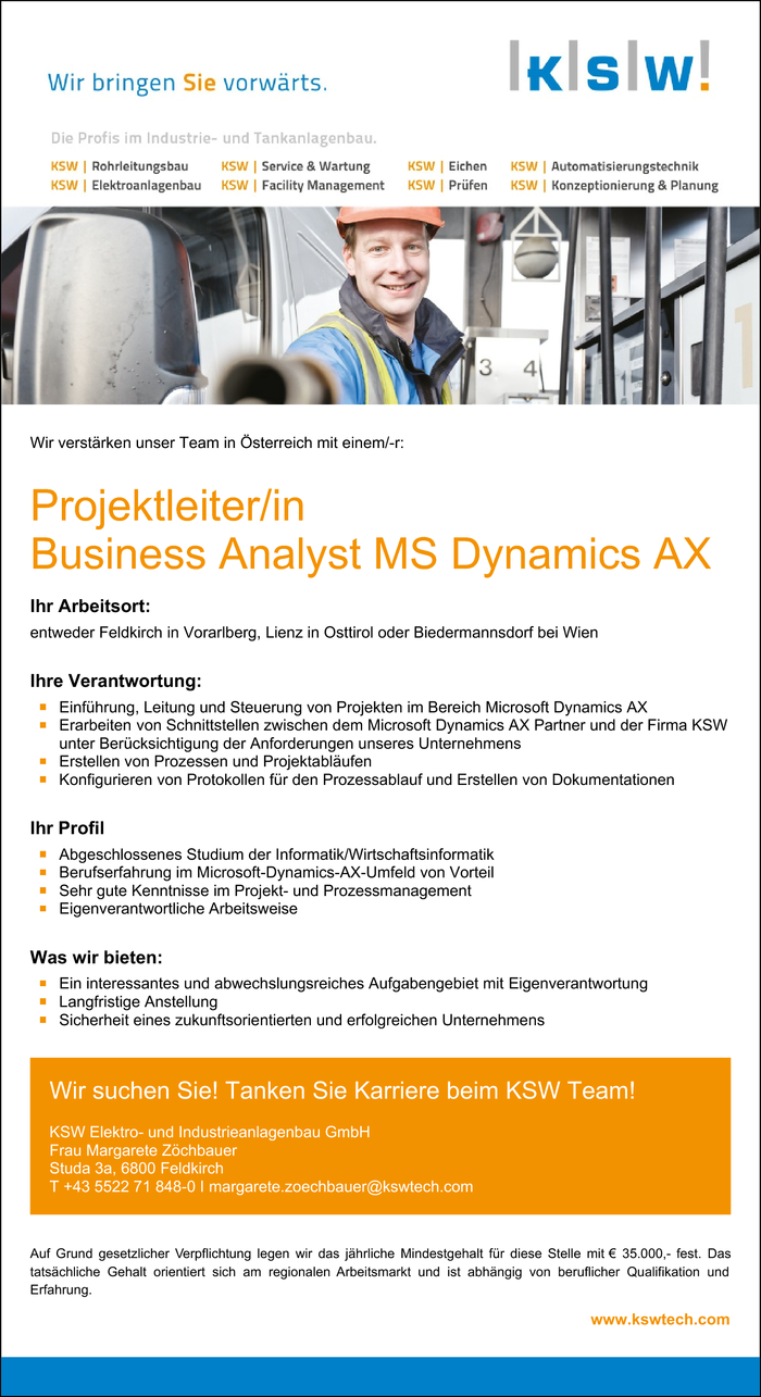 Projektleiter/in Business Analyst MS Dynamics AX