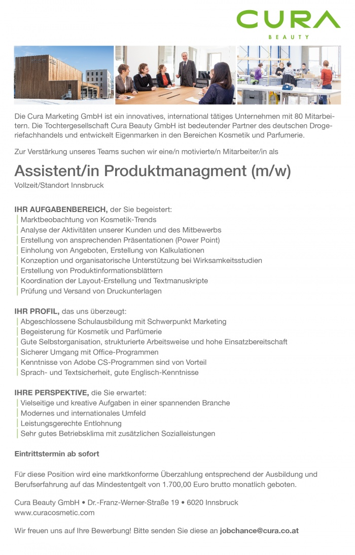 Assistent/in Produktmanagement (m/w)