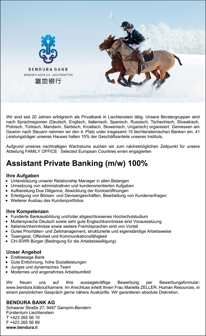 Assistant Private Banking (m/w)