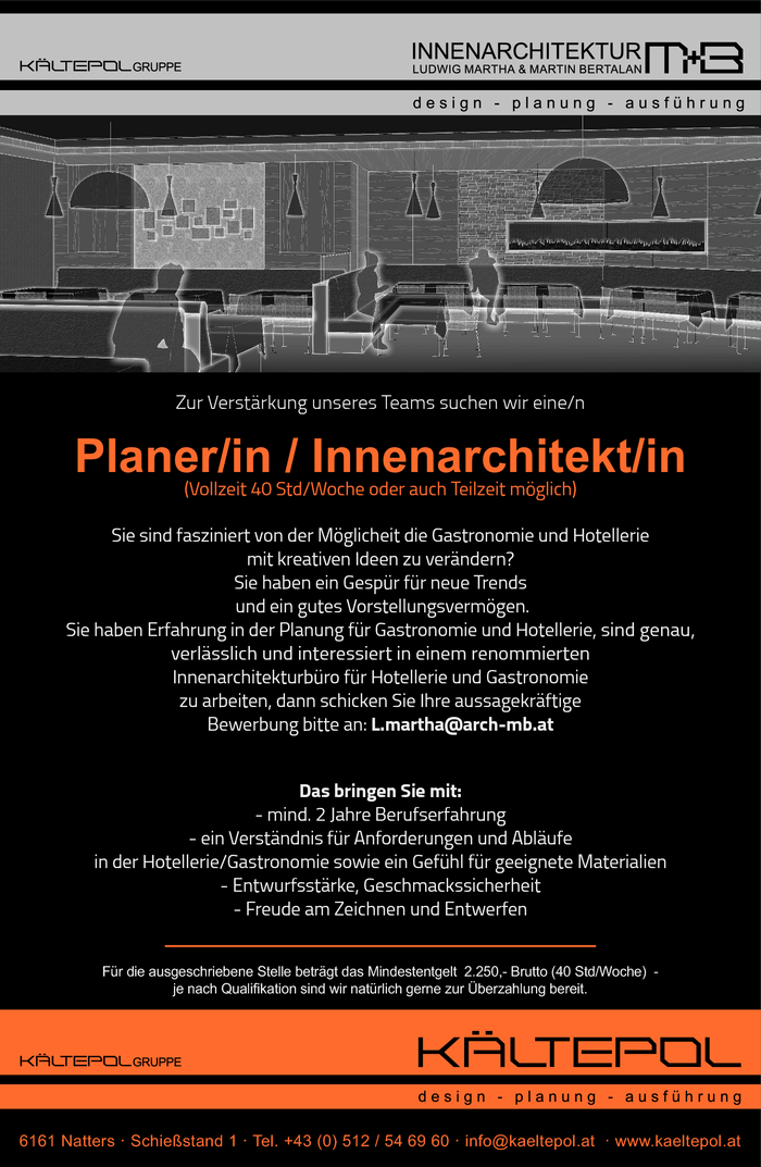 Innenarchitekt/in  / Planer/in