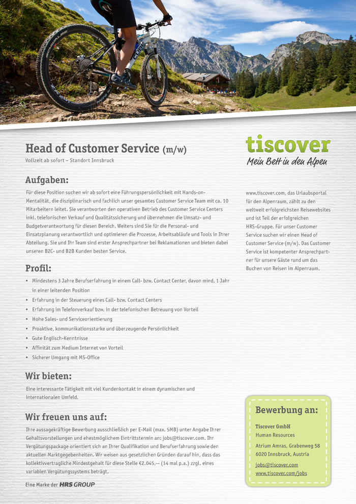 Head of Customer Service (m/w)