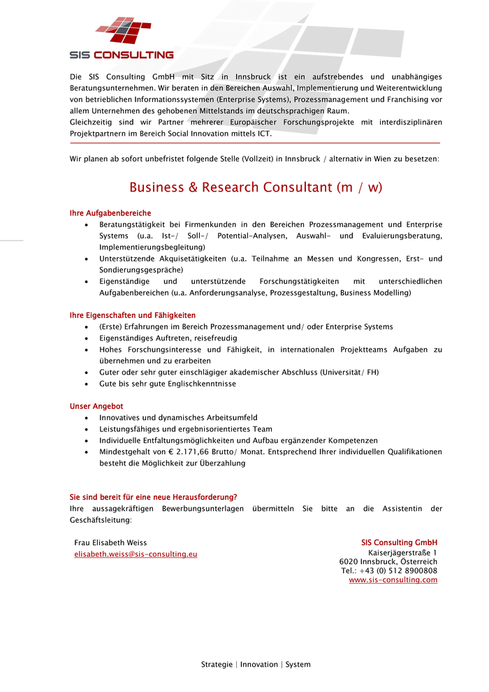 Business & Research Consultant (m / w)