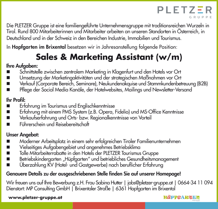 Sales & Marketing Assistant (w/m)