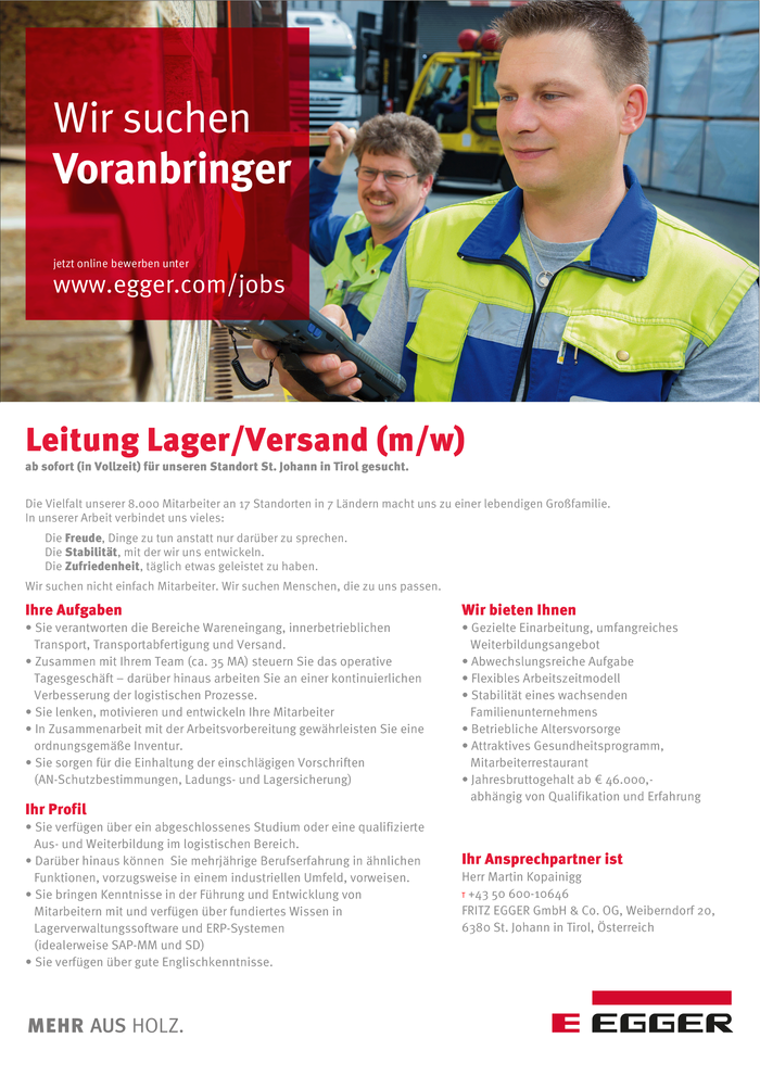 Leitung Lager/Versand (m/w)