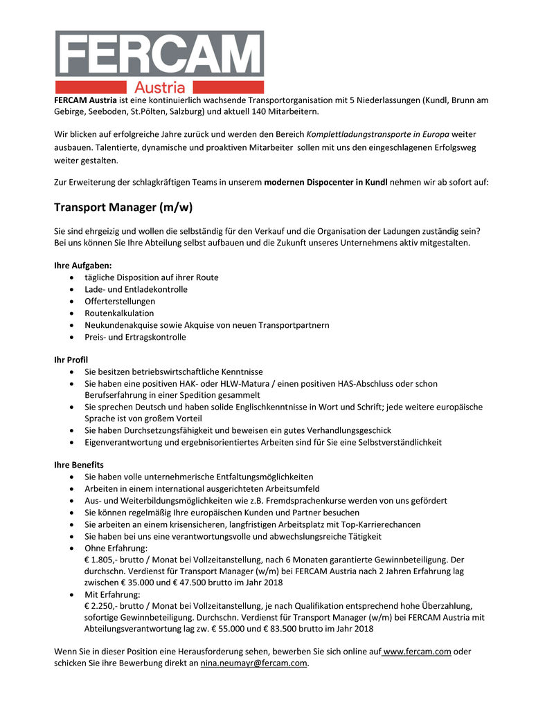 Transport Manager (m/w)