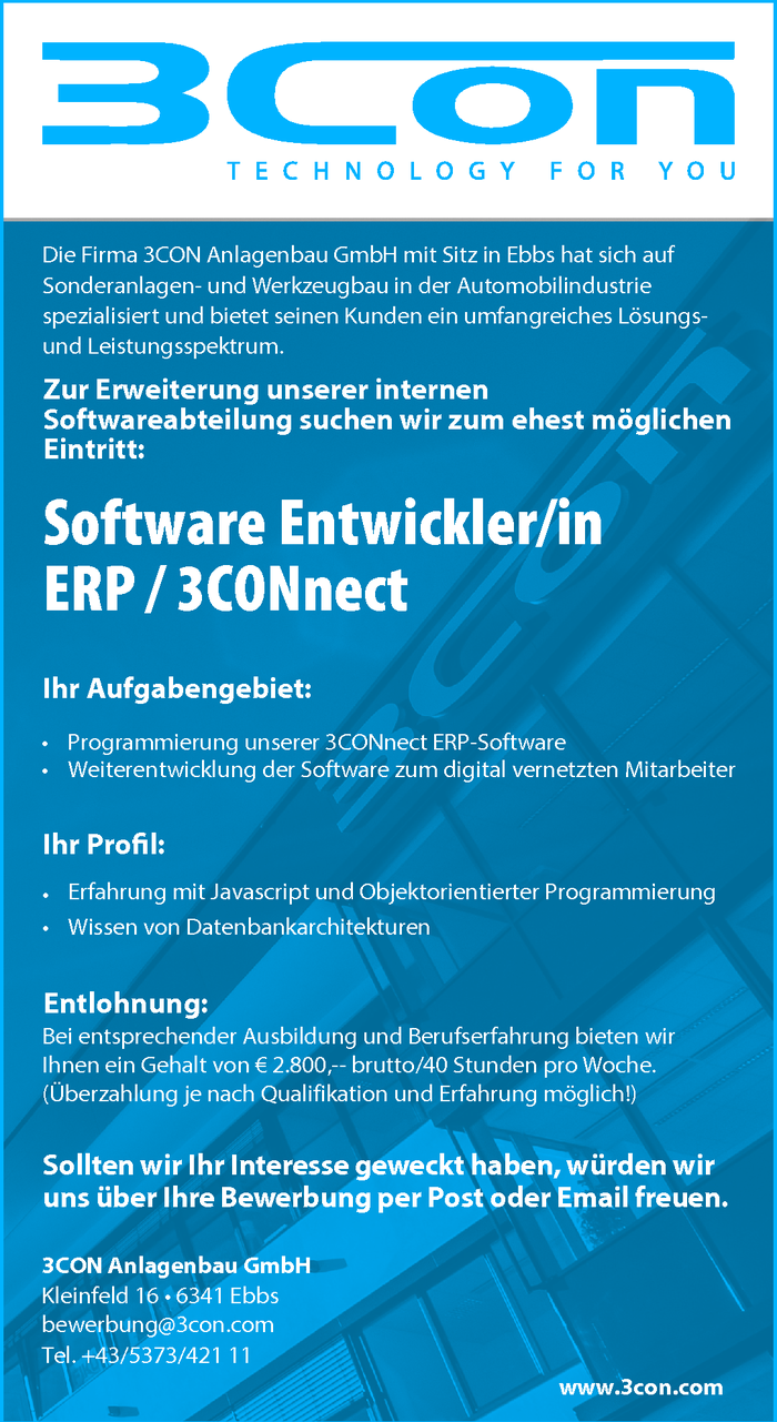 Software Entwickler/in ERP / 3CONnect