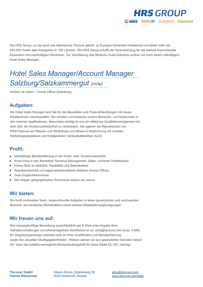 Hotel Sales Manager / Account Manager Salzburg/Salzkammergut (m/w)