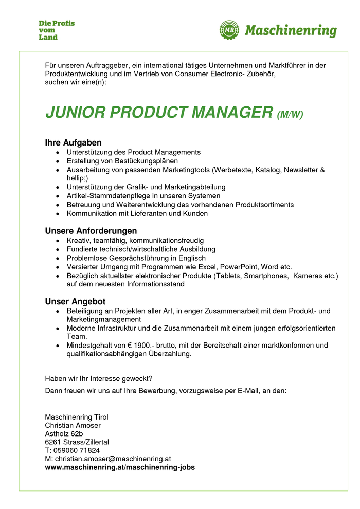 Junior Product Manager m/w