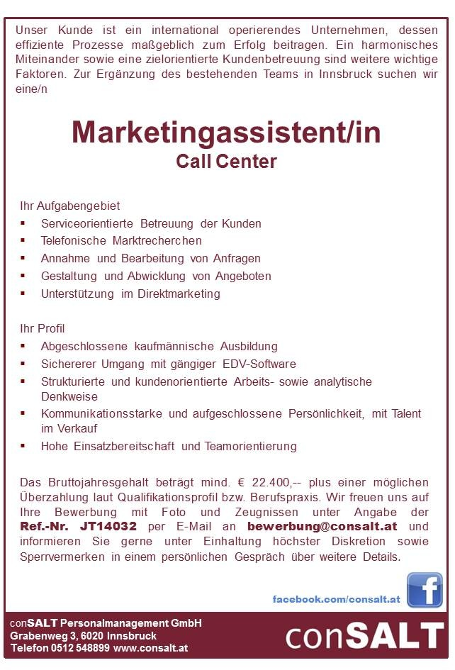Marketingassistent/in Call Center