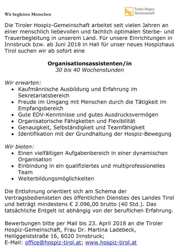 Organisationsassistent/in