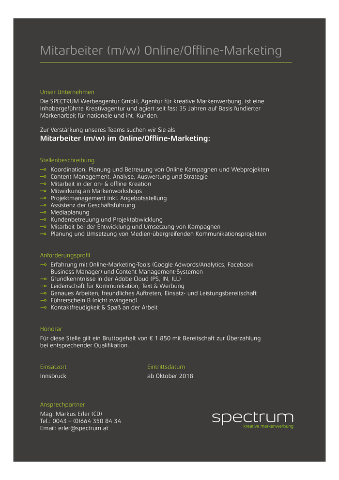 Mitarbeiter (m/w) Online/Offline Marketing