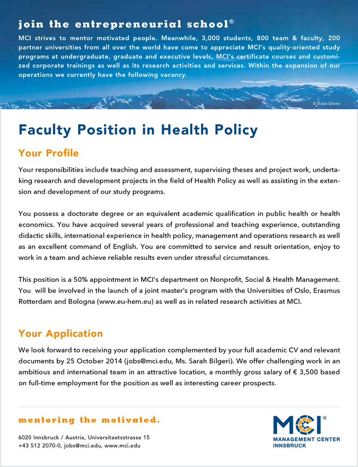 Faculty Position in Health Policy