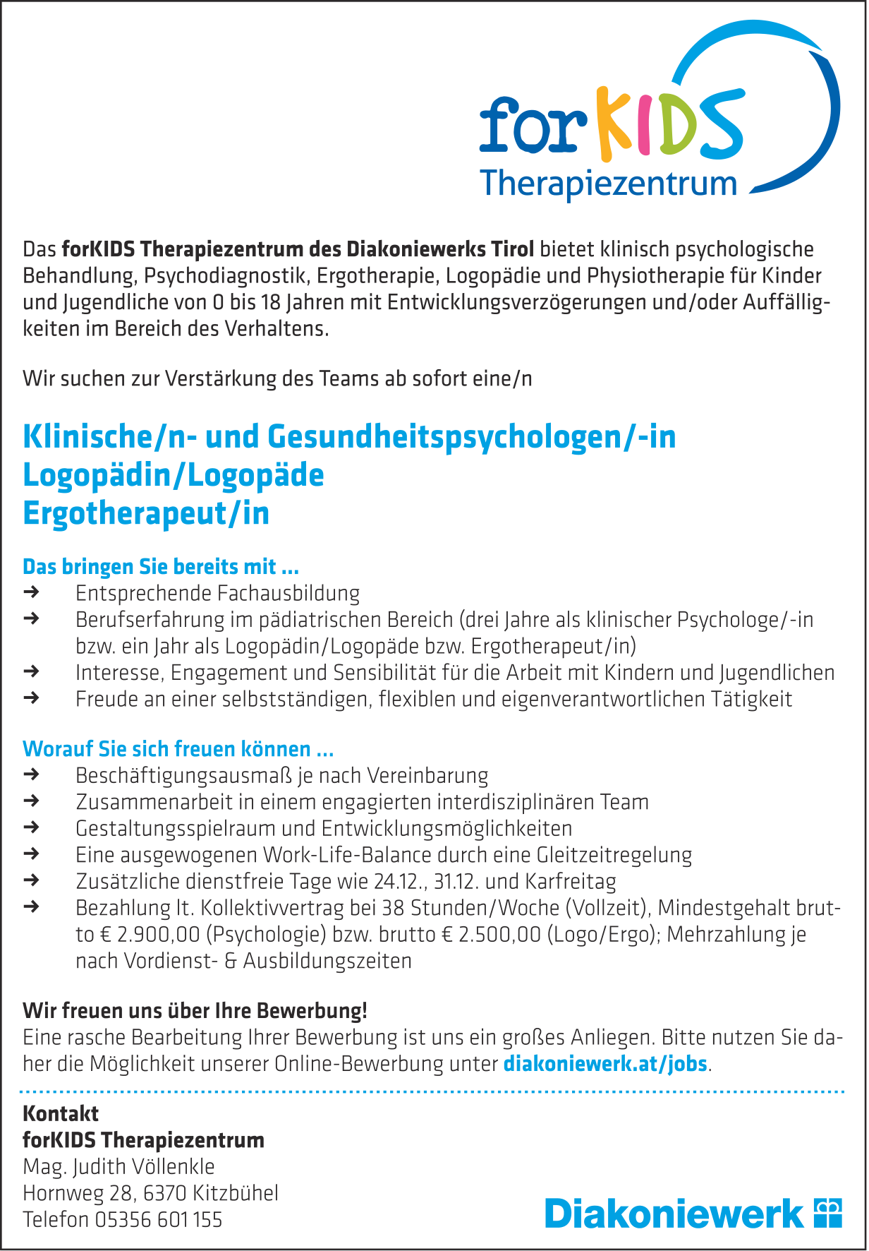 forKIDS Therapiezentrum sucht...