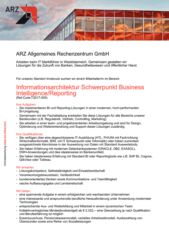 Informationsarchitektur Schwerpunkt Business Intelligence/Reporting
