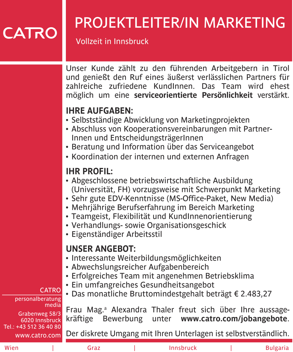 PROJEKTLEITER/IN MARKETING