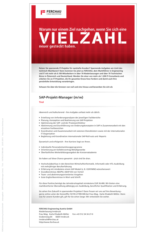 SAP-Projektmanager (m/w)