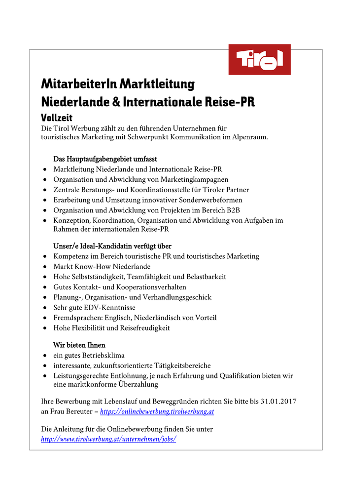 Marketing Marktleitung Niederlande & Internationale Reise-PR