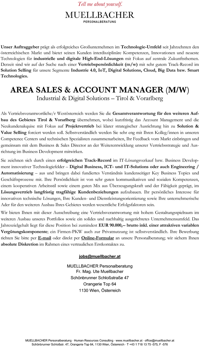 Area Sales & Account Manager (m/w) - Industrial & Digital Solutions - Tirol & Vorarlberg