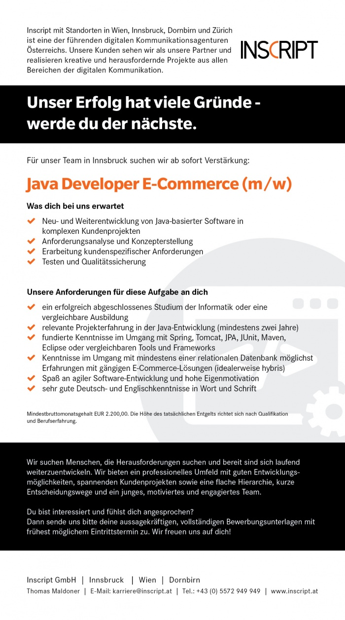 Java Developer E-Commerce (m/w)