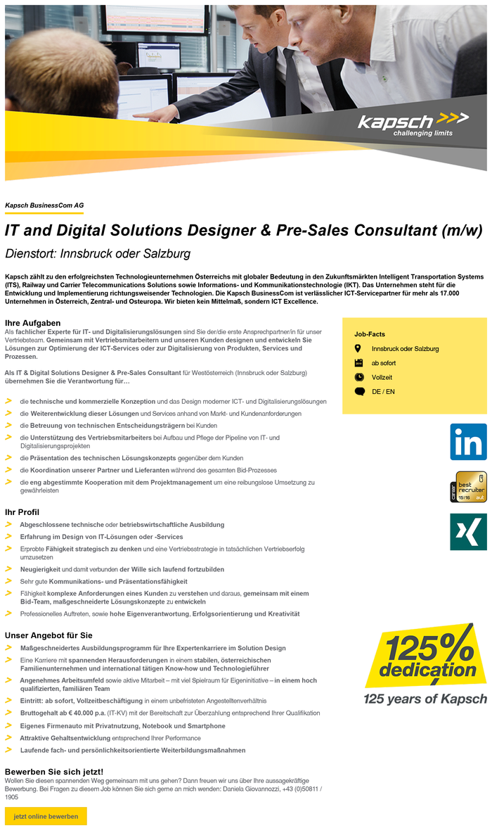 IT and Digital Solutions Designer & Pre-Sales Consultant (m/w)