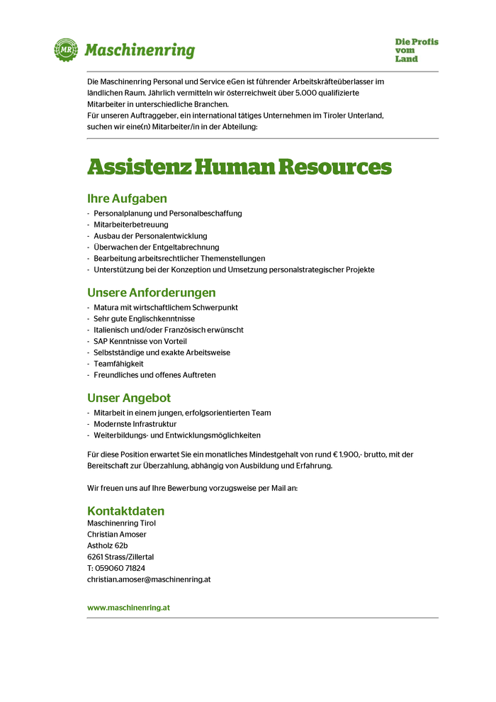 Assistenz Human Resources (m/w)