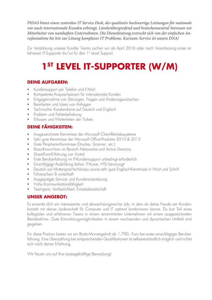 1st Level IT Supporter (w/m)
