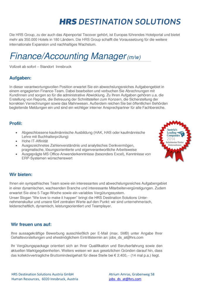 Finance/Accounting Manager (m/w)