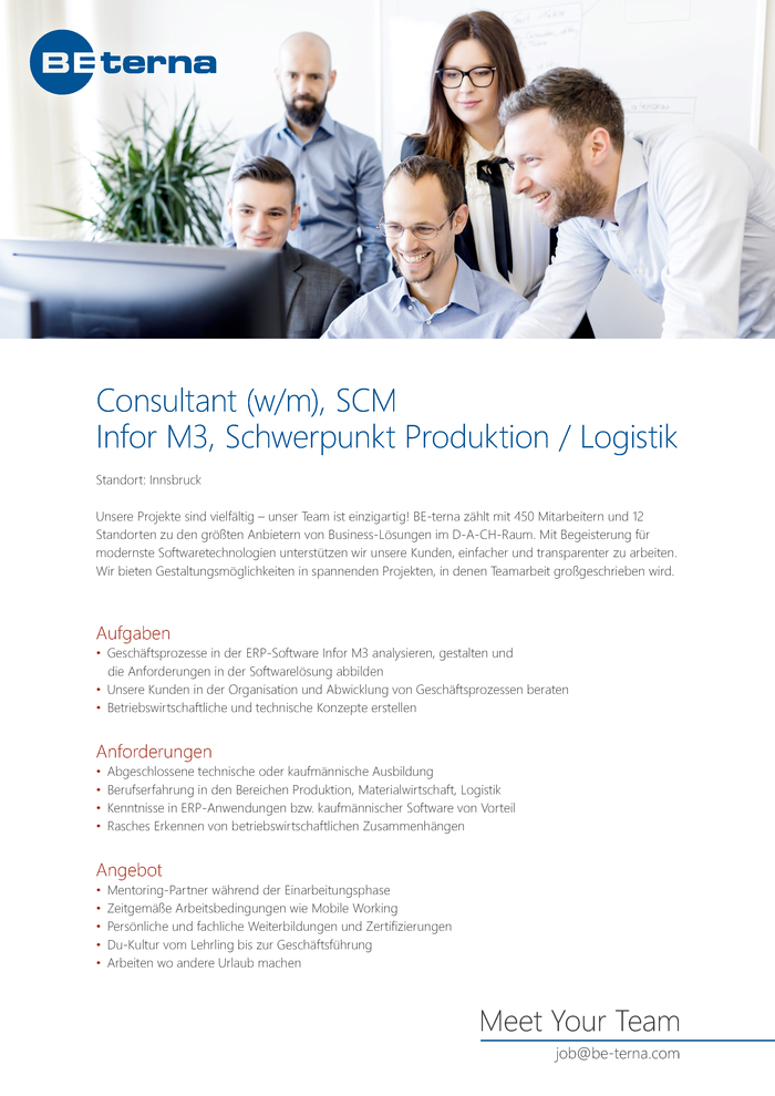 Consultant (w/m), Supply Chain Management, Infor M3, Schwerpunkt Produktion / Logistik