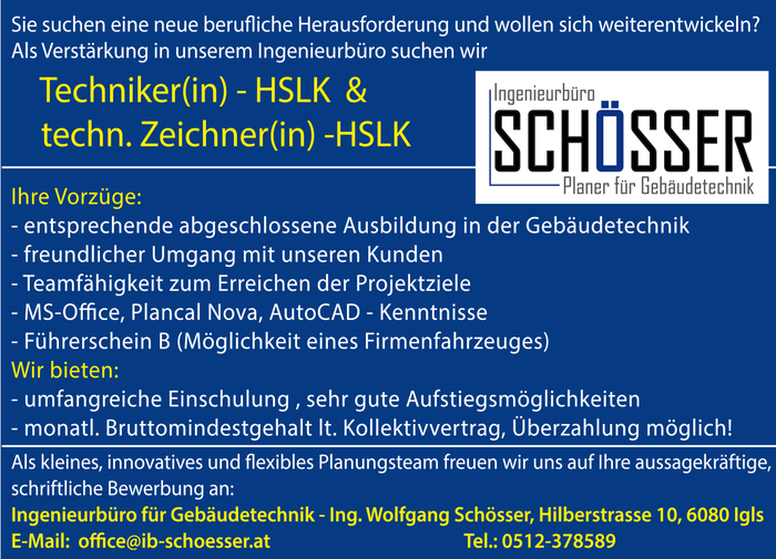 Techniker(in) - HSLK & techn. Zeichner(in) - HSLK