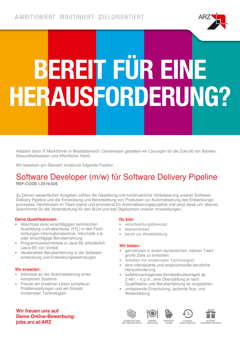 SOFTWARE DEVELOPER (m/w) für Software Delivery Pipeline (Ref-Code I-2019-026)