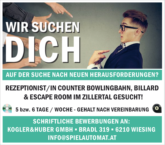 REZEPTIONIST/IN COUNTER BOWLINGBAHN, BILLARD & ESCAPE ROOM IM ZILLERTAL GESUCHT!
