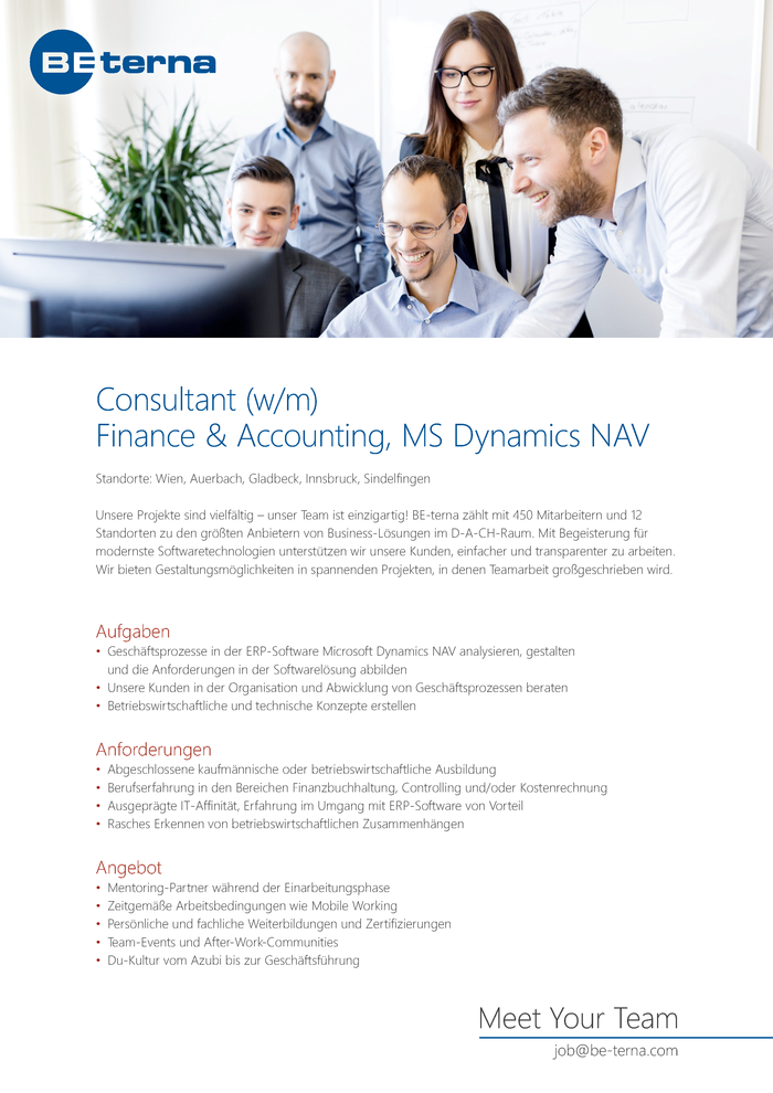 Consultant (w/m), Finance & Accounting, MS Dynamics NAV