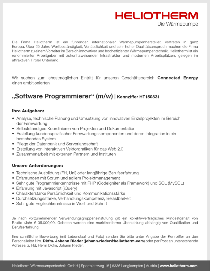 Software Programmierer - Connected Energy (m/w)