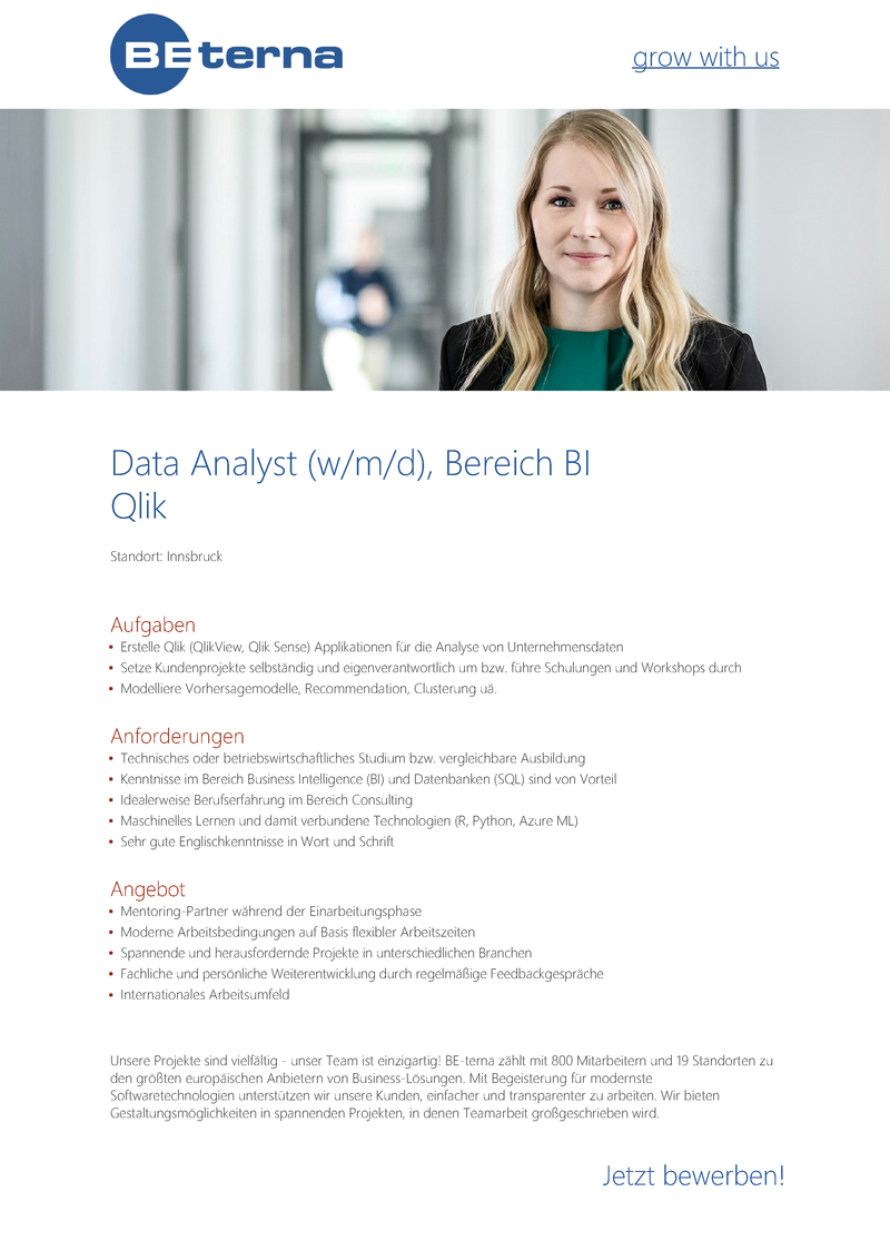 Data Analyst (w/m/d), Bereich BI, Qlik