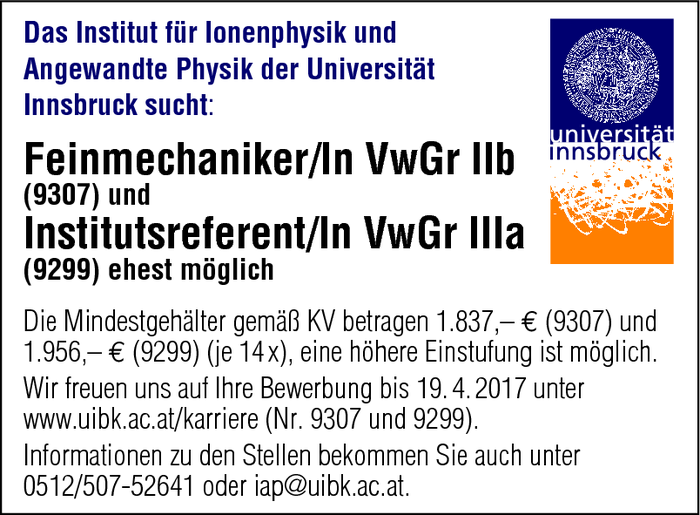 Feinmechaniker/In VwGr IIb und Institutsreferent/In VwGr IIIa