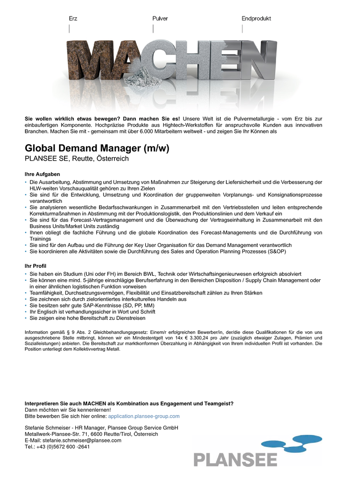 Global Demand Manager (m/w)