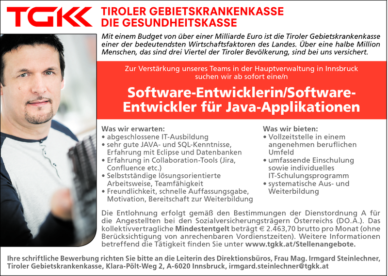 Software-Entwicklerin/Software- Entwickler für Java-Applikationen