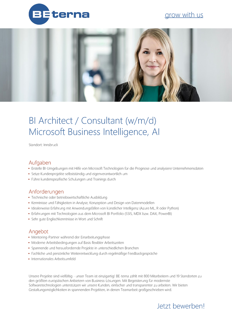 BI Architect / Consultant (w/m/d), Microsoft Business Intelligence, AI