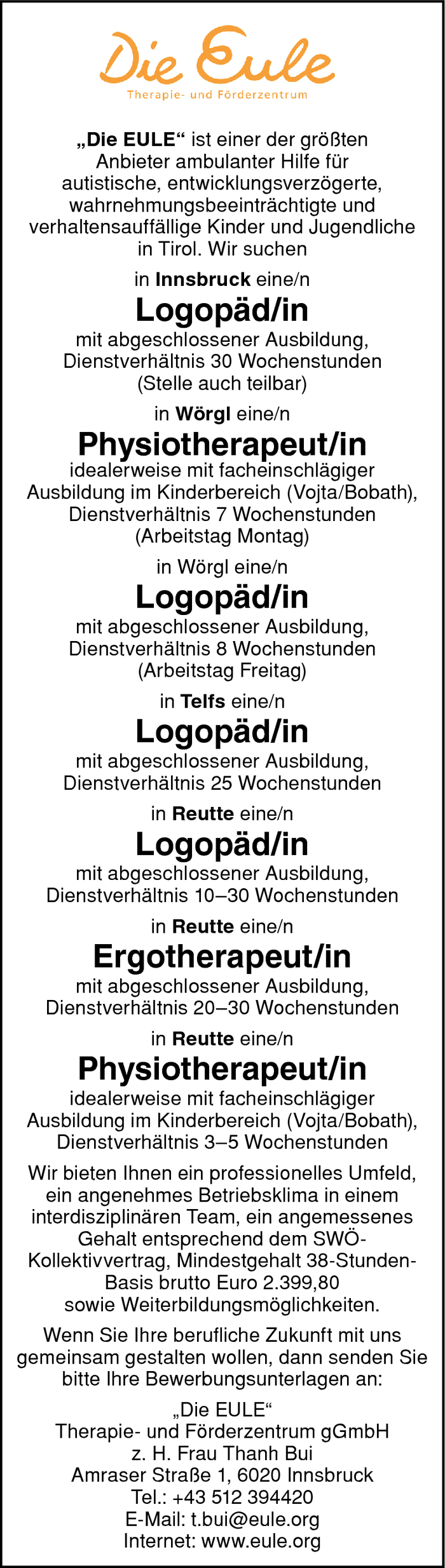 Logopäd/in & Physiotherapeut/in & Ergotherapeut/in