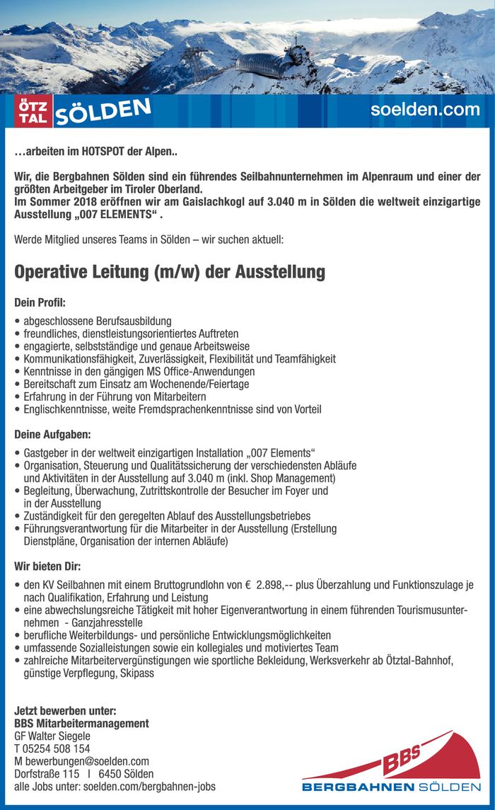 Operative Leitung (m/w) der Ausstellung im Bezirk Imst - Bewirb ...