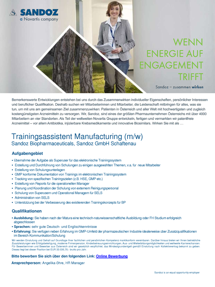 Trainingsassistent Manufacturing (m/w)