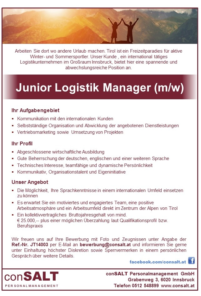 Junior Logistik Manager (m/w)