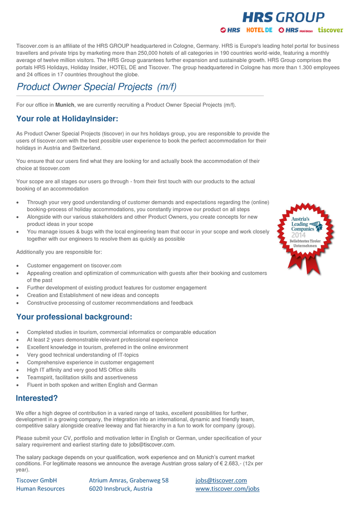 Product Owner Special Projects (m/f)