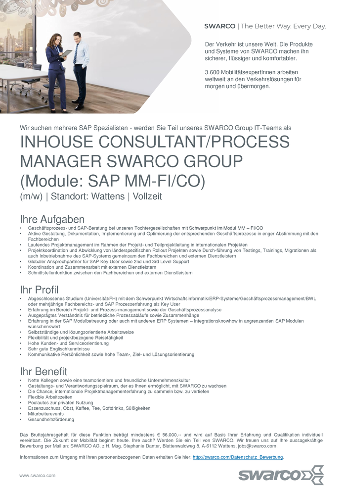 INHOUSE CONSULTANT/PROCESS MANAGER SWARCO GROUP (Module: SAP MM-FI/CO)