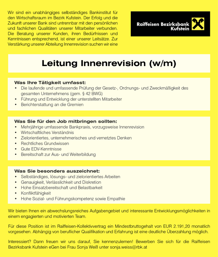 Leitung Innenrevision (w/m)