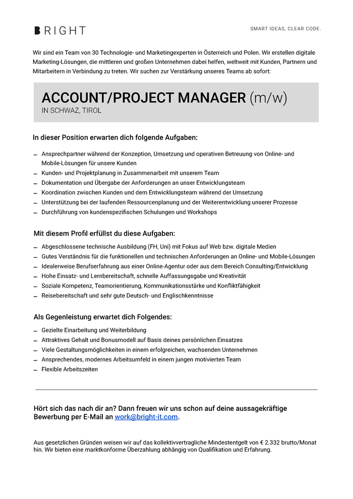 Account/Projekt Manager (M/W)