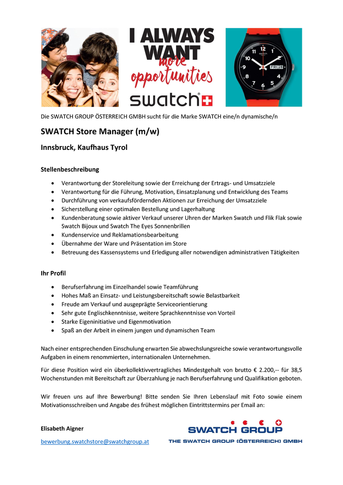 SWATCH Store Manager (m/w)