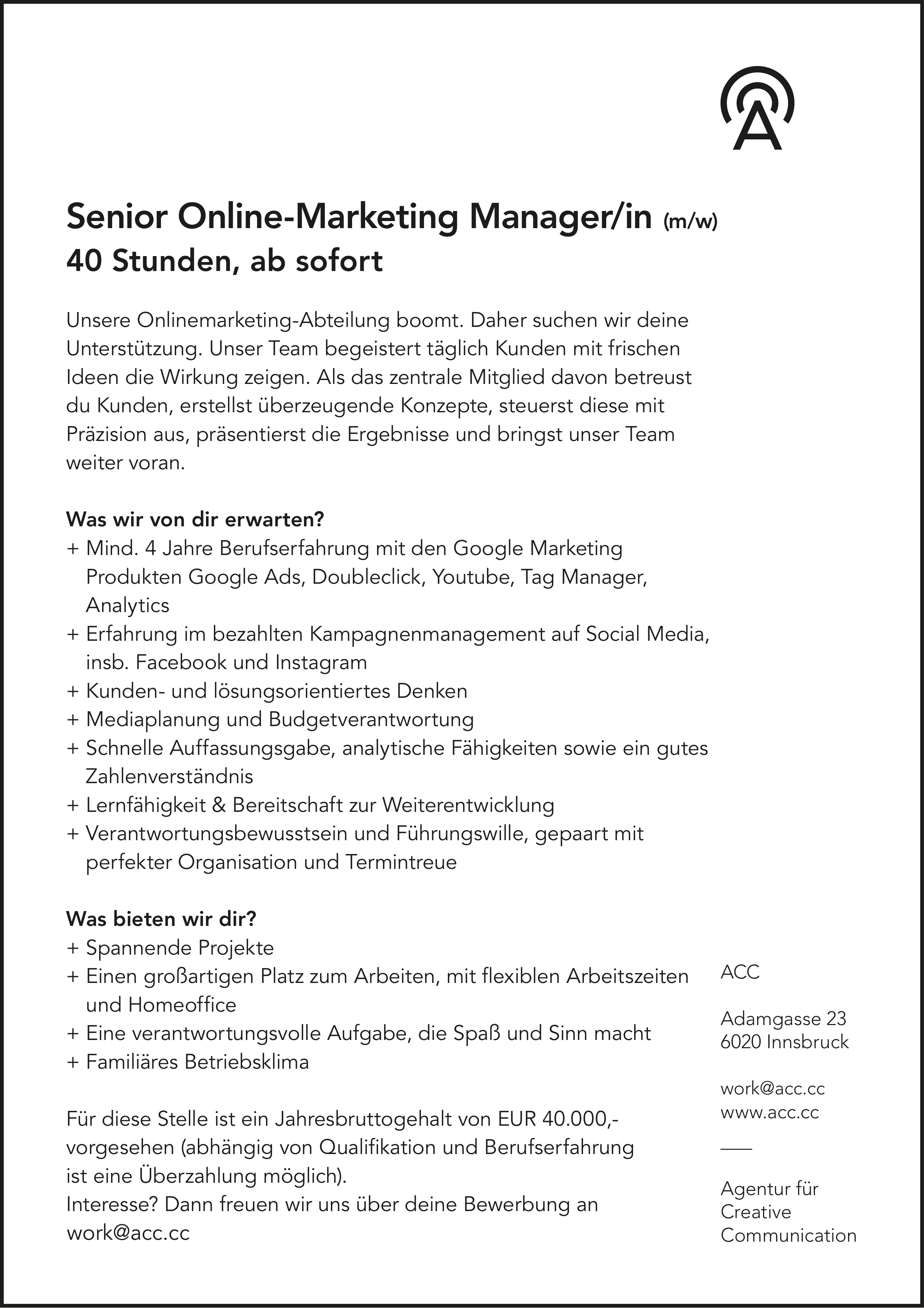 Senior Online-Marketing Manager/in