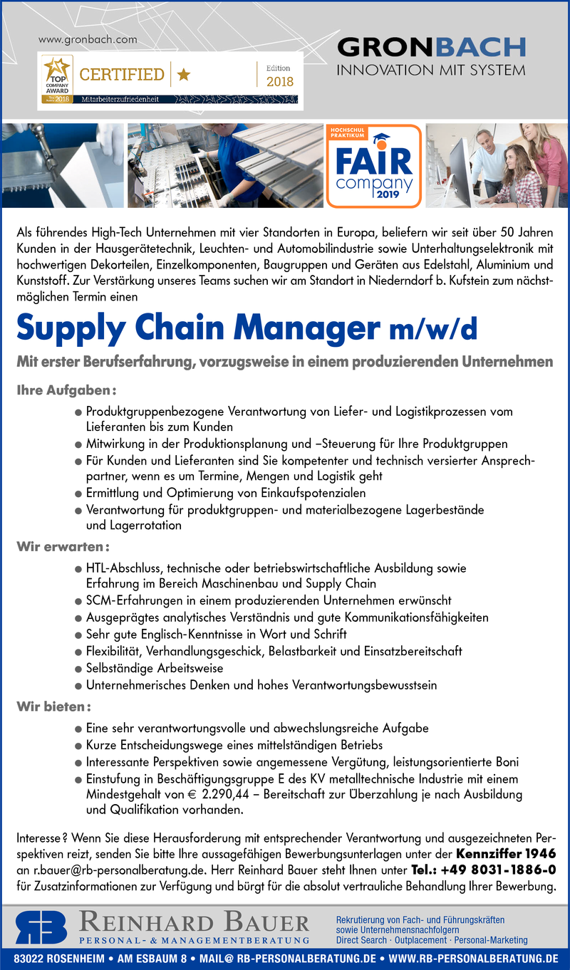 Supply Chain Manager m/w/d